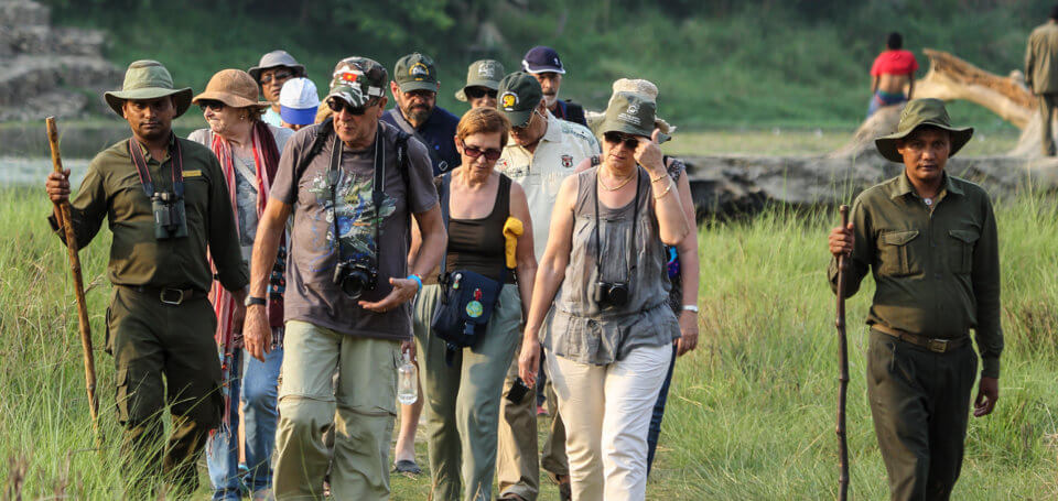 tourists walking through Chitwan national park