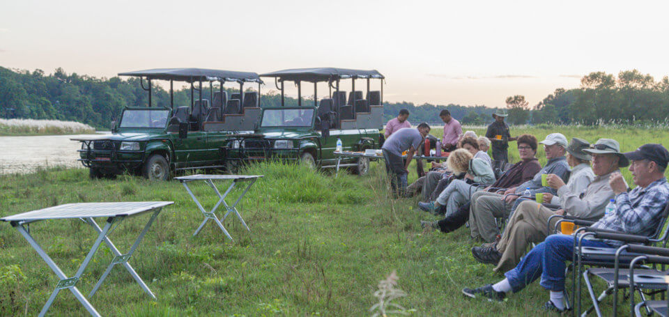 guests relaxing after jungle safari